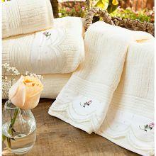 Toalhas de Banho Gigante Essenza cor Palha e Flores com 5 peças