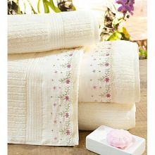 Toalhas de Banho Gigante Gardenia cor Palha e Flores com 5 peças