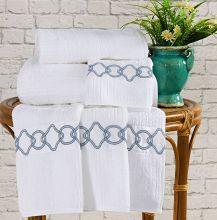 Toalhas de Banho Gigante Livorno cor Azul e Branco com 5 peças