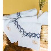 Toalhas de Banho Gigante Trento cor Azul e Branco com 5 pe�as