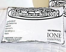 Travesseiro 70cm x 50cm Travesseiro Siliconado Branco com 1 peças em Algodão e Poliéster