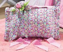 Travesseiro de Viagem Único Rosa estampado Percal 200 fios com 2 peças - Travesseiro Viagem Campofiori