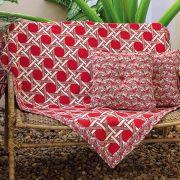 Xale para sofá  Drops Vermelho  com 5 peças