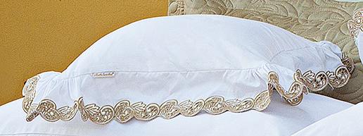 Almofada de Cama Branco Dourado em Fio Egipicio Percal 400 fios - Molise