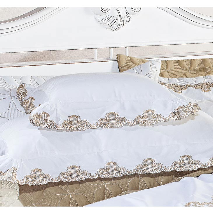 Almofada de Cama Branco / Dourado em Fio Egipicio Percal 400 fios - Pienza