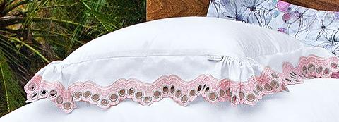 Almofada de Cama Branco e Rosa em Fio Egipicio Percal 400 fios - Mille