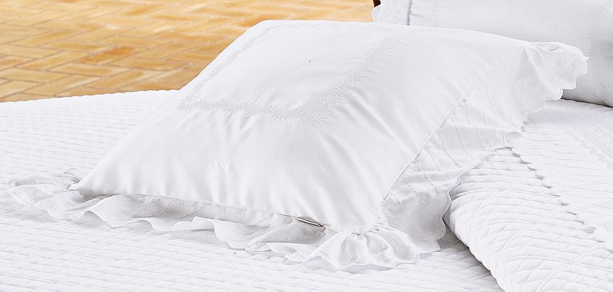 Almofada de Cama Branco em Fio Egipicio Percal 400 fios - Amaretto