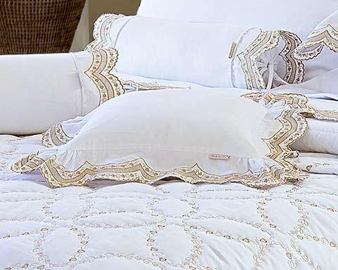Almofada de Cama Dourado e Branco em Percal Algodão 230 fios - Acetinado - Giornata