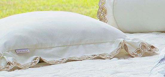 Almofada de Cama Palha Dourado em Fio Egipicio Percal 400 fios - Molise