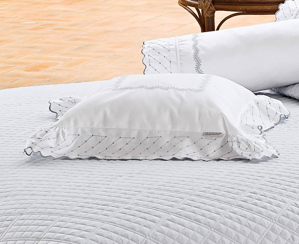 Almofada de Cama Prata e Branco em Fio Egipicio Percal 400 fios - Amaretto