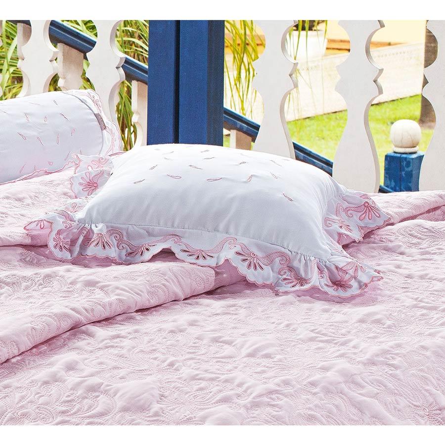Almofada de Cama Rosa e Branco em Fio Egipicio Percal 400 fios - C´ Doró