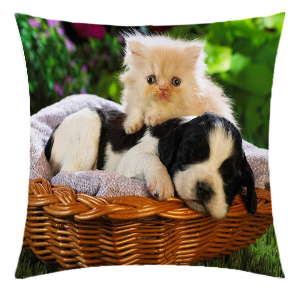 Almofada Desenhada Decoração Gatinho e Cachorrinho com 2 peças tecido Microfibra - Almofada Digital