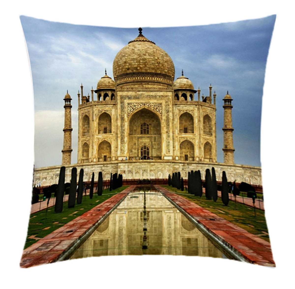 Almofada Desenhada Decoração Taj Mahal India com 2 peças tecido Microfibra - Almofada Digital