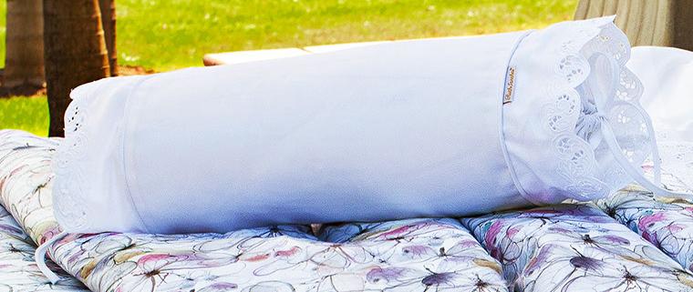 Almofada Rolinho em Fio Egipicio Percal 400 fios cor Branco - Molise
