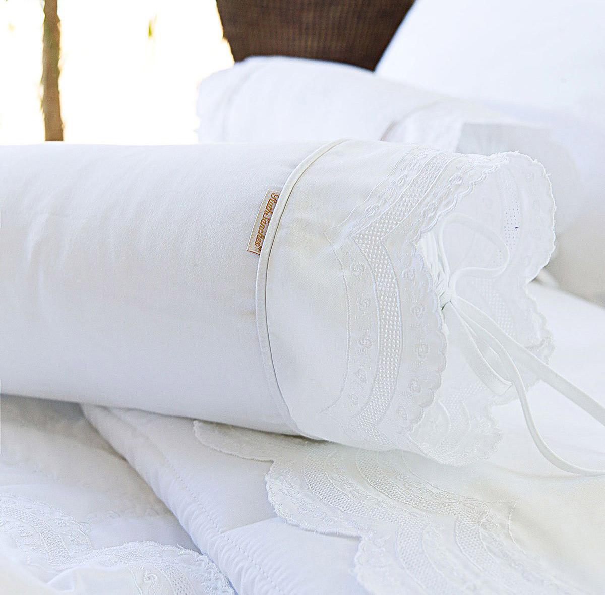 Almofada Rolinho em Percal Algodão 230 fios - Acetinado cor Branco - Giornata