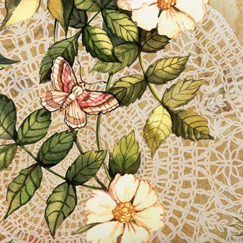 Capa de Almofada 45cm Capa de Almofada Silk Floral Cáqui com 1 peças em Poliéster