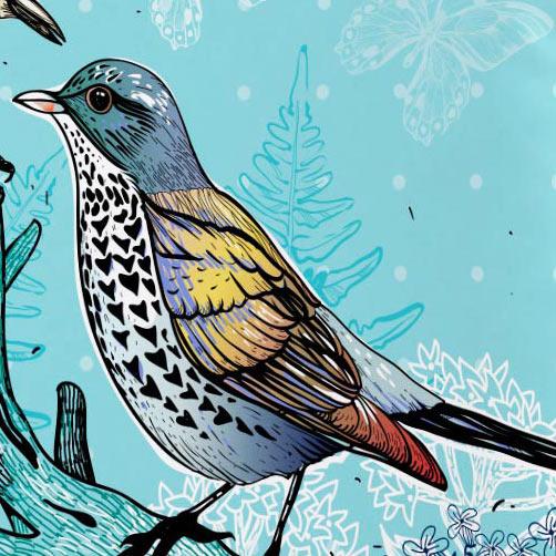 Capa de Almofada 45cm Capa de Almofada Silk Pássaros com 1 peças em Poliéster