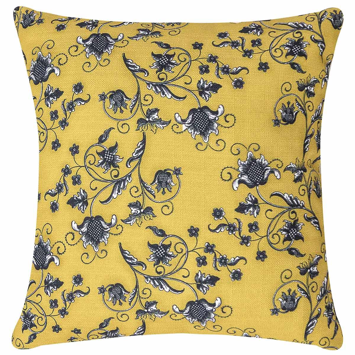 Capa de Almofada 45cm Fascínio Amarelo Floral com 1 peças