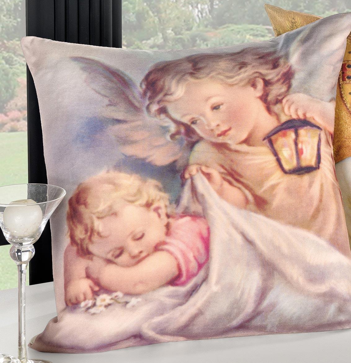 Capa de Almofada Religiosa  Anjo da Guarda com 2 peças em