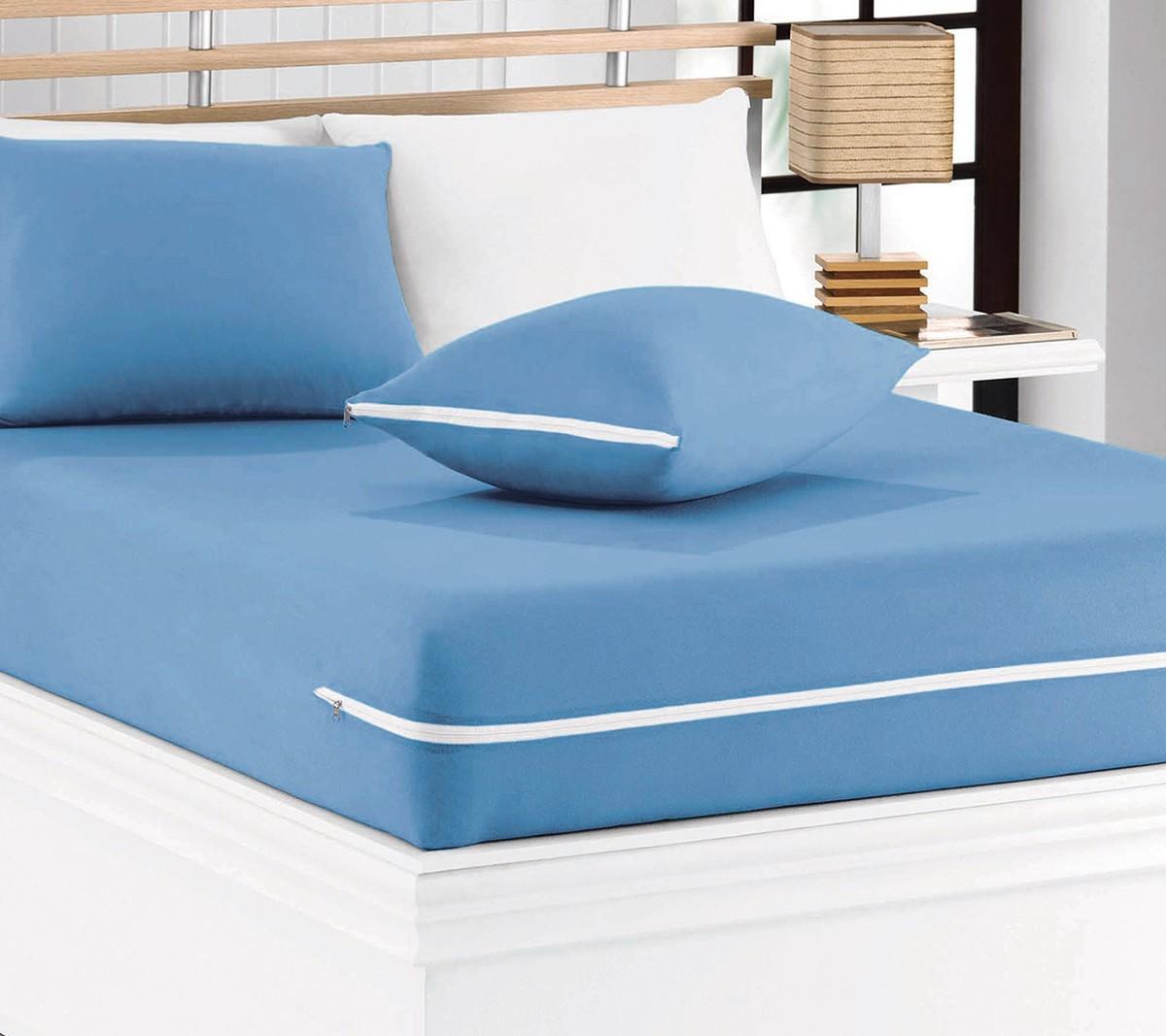 Capa de Colchão Mascali Solteiro Azul com 1 peças em Algodão