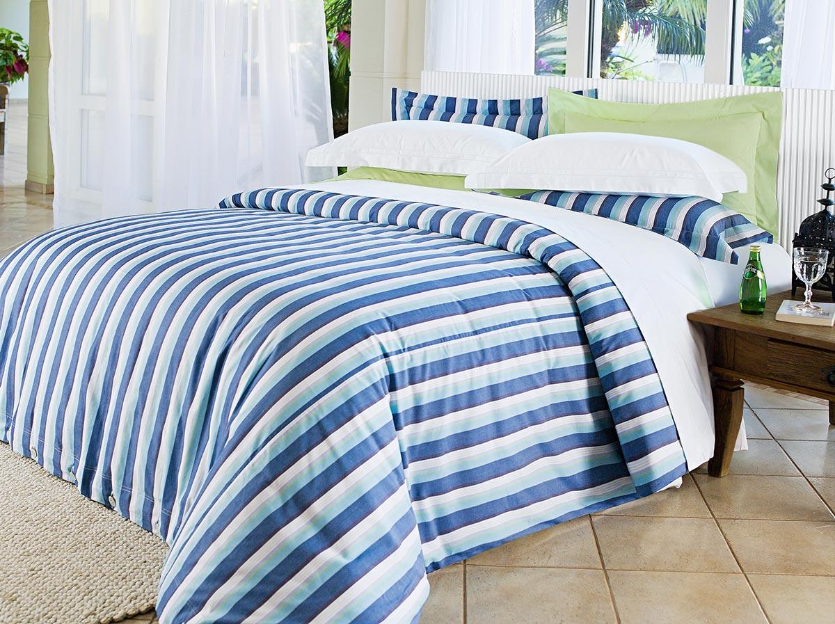 Capa de Edredom Queen Listra Azul em Percal Algodão 230 fios - Acetinado - Mirabello com 3 peças