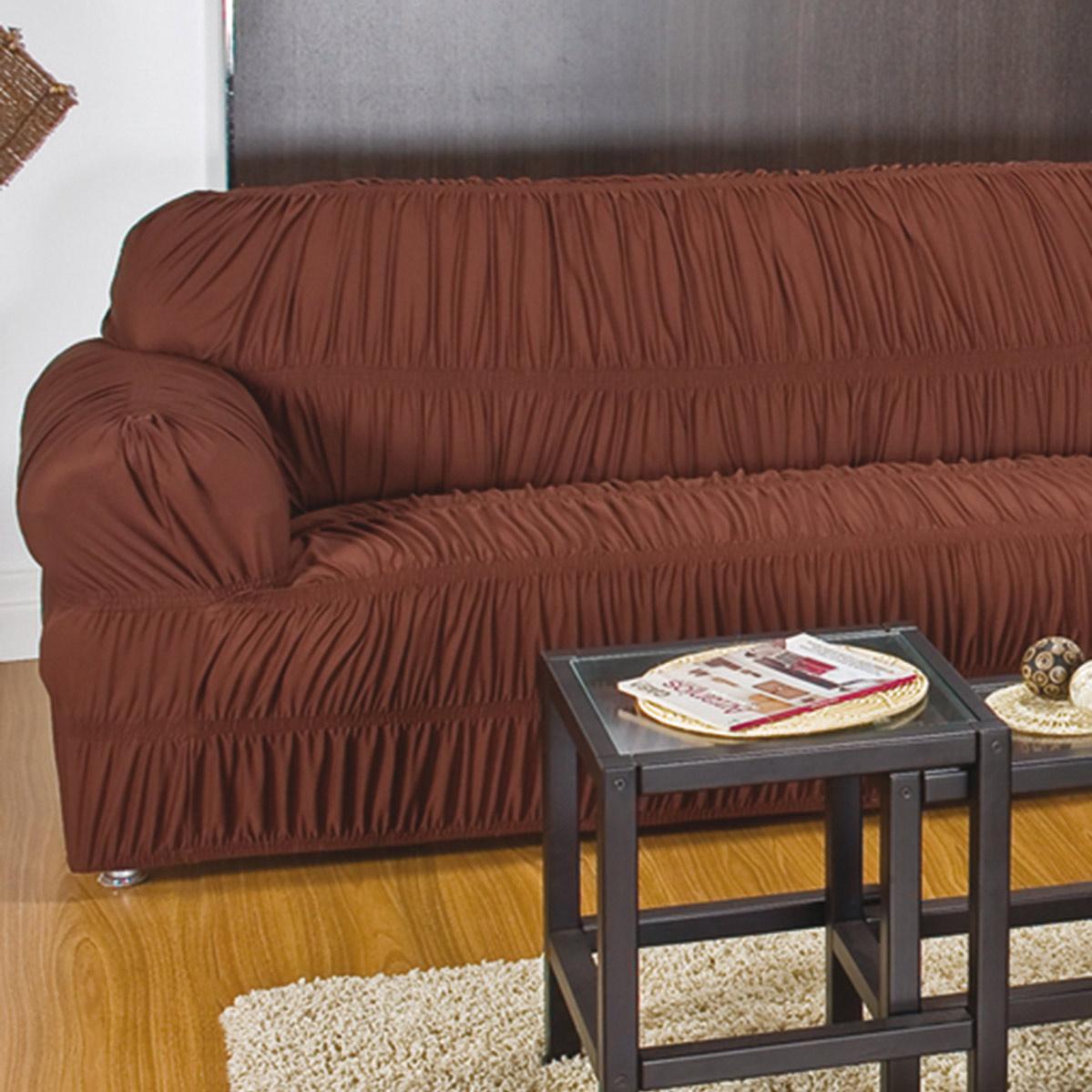Capa de Sofa de 2 e 3 Lugares Marrom em Malha Gel 100% Poliester com capa de 20 elatiscos em 02 pecas - Capa para Sofa Adornare