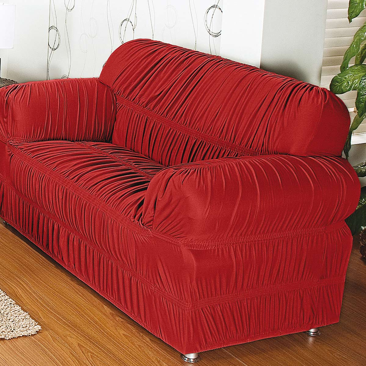 Capa de Sofa de 2 e 3 Lugares Vermelho em Malha Gel 100% Poliester com capa de 20 elatiscos em 02 pecas - Capa para Sofa Adornare