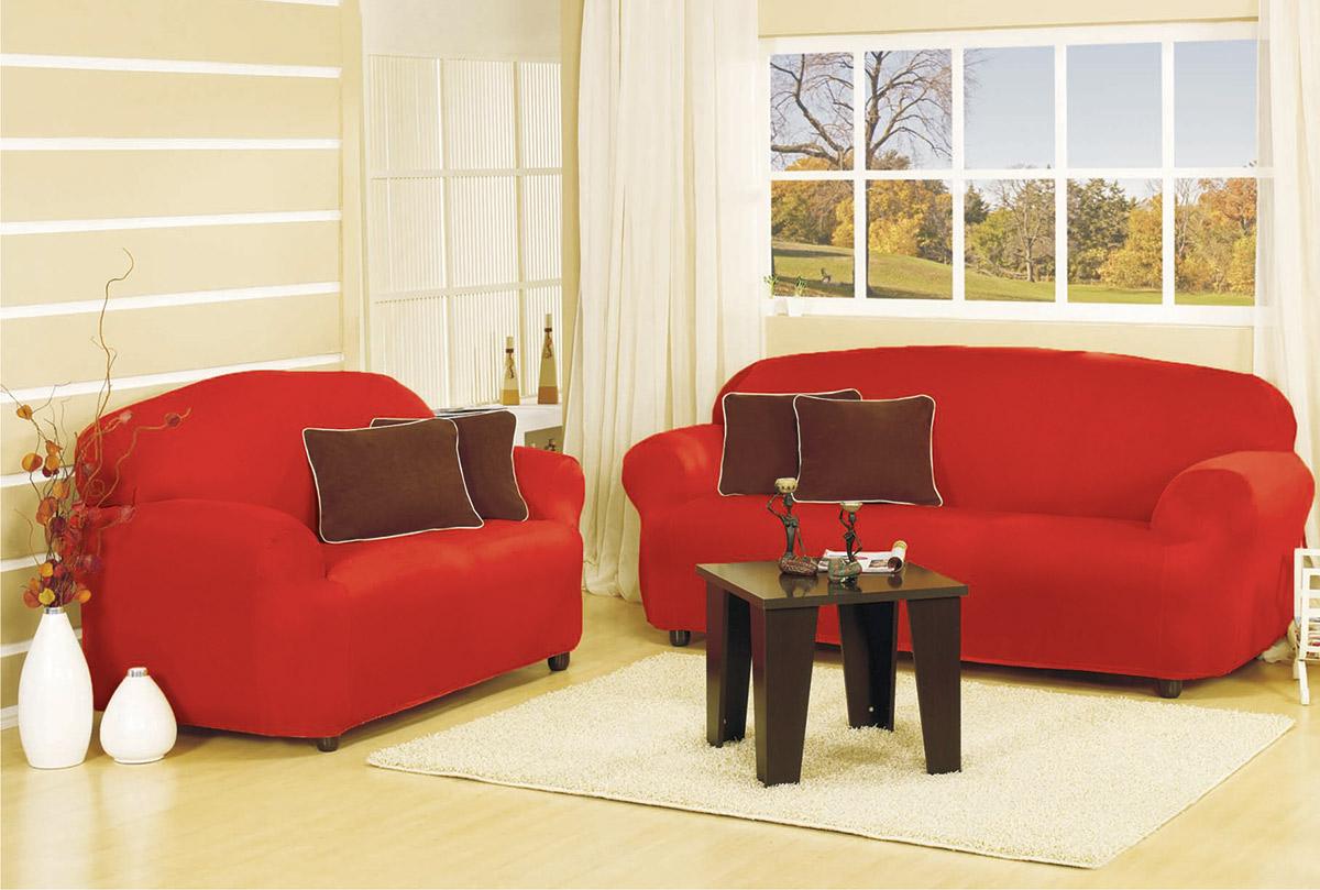 Capa de Sofá Lisa Padrão Capa de Sofá Capricce Lisa Vermelha com 2 peças em Poliéster