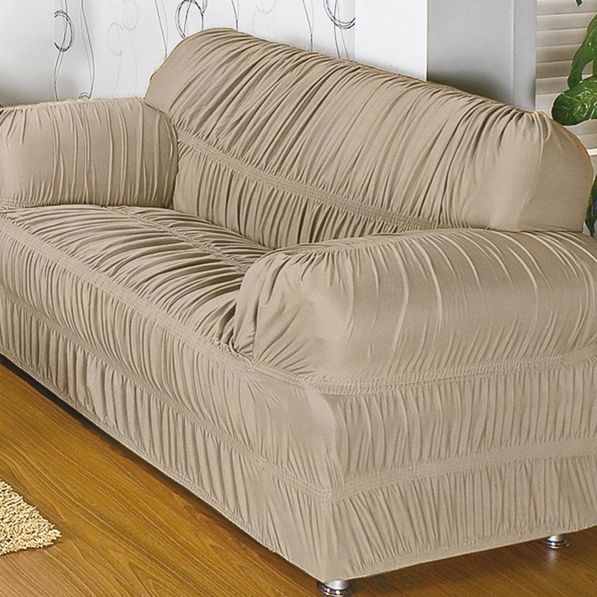 Capa para Sofa com 20 Elasticos e em Malha Gel para 2 ou 3 Lugares na cor Areia - Capa de Sofa Adornare