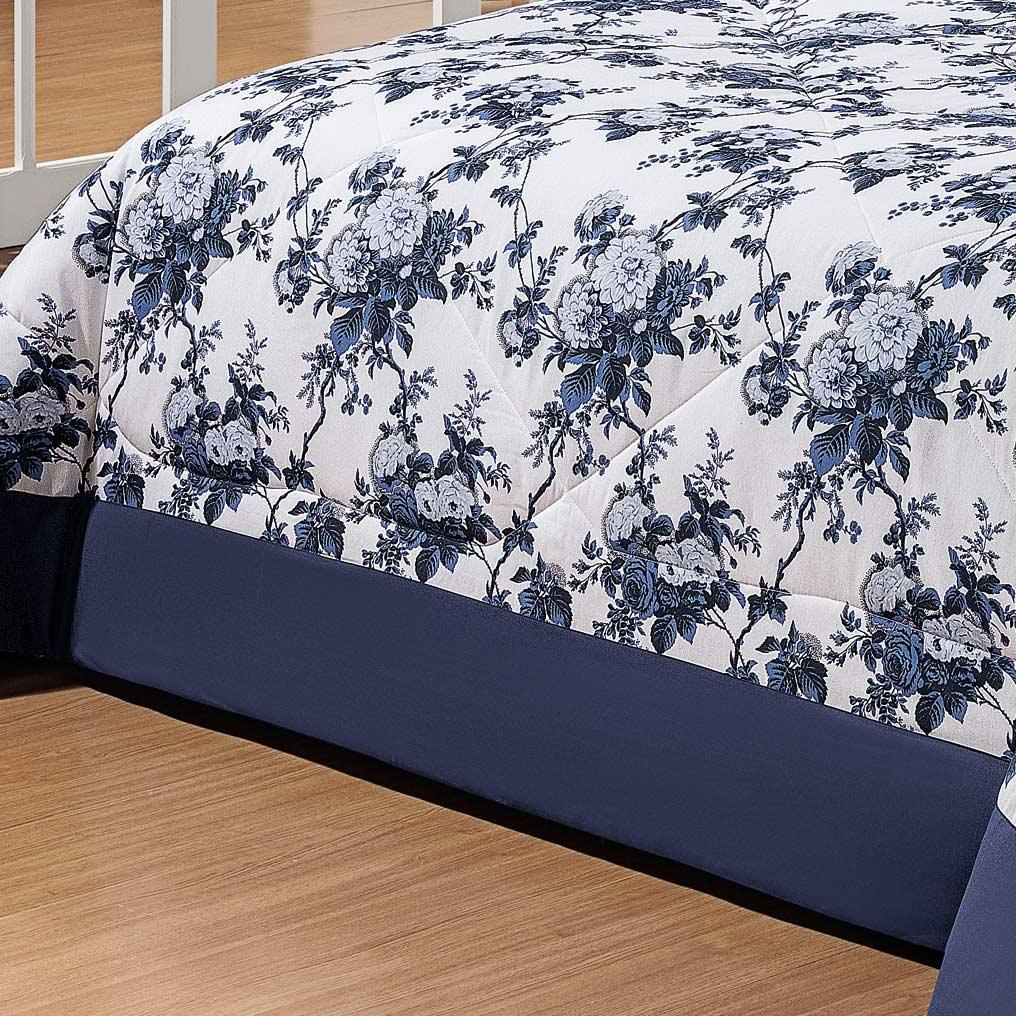 Cobre Leito Artena Casal Box Floral Azul com 5 peças em Algodão e Poliéster