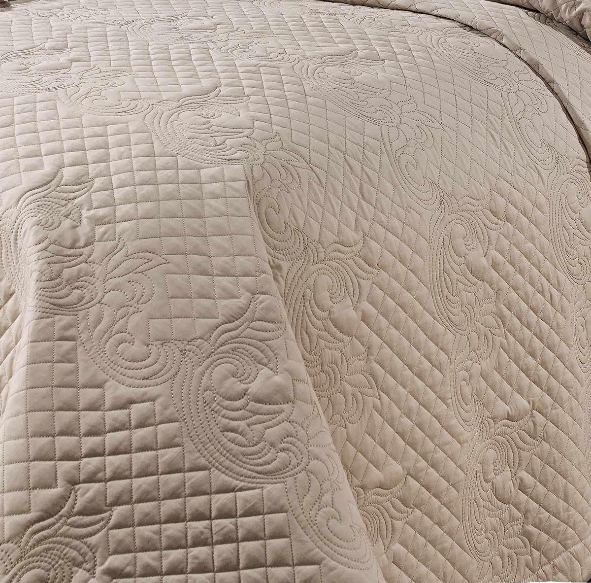 Cobre Leito Bordado Casal King Coleção Milano Percal 200 Fios Liso com 3 peças