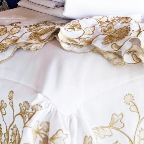 Cobre Leito Casal Estampado Queen Lomani Branco com 3 peças em Algodão e Poliéster