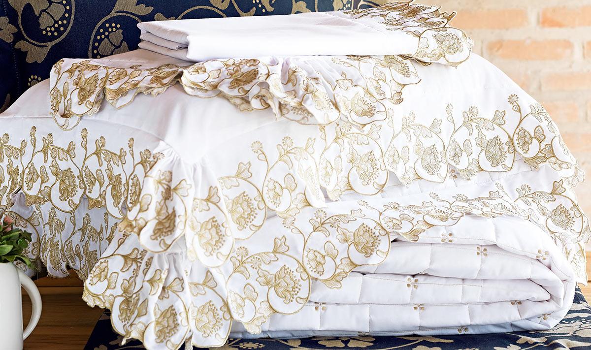 Cobre Leito Casal Estampado Super King Lomani Branco com 3 peças em Algodão e Poliéster