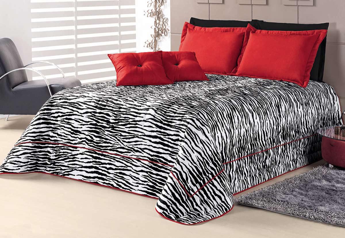 Cobre Leito Casal Queen Kit Jungle  Zebra com 7 peças em 100% Algodão