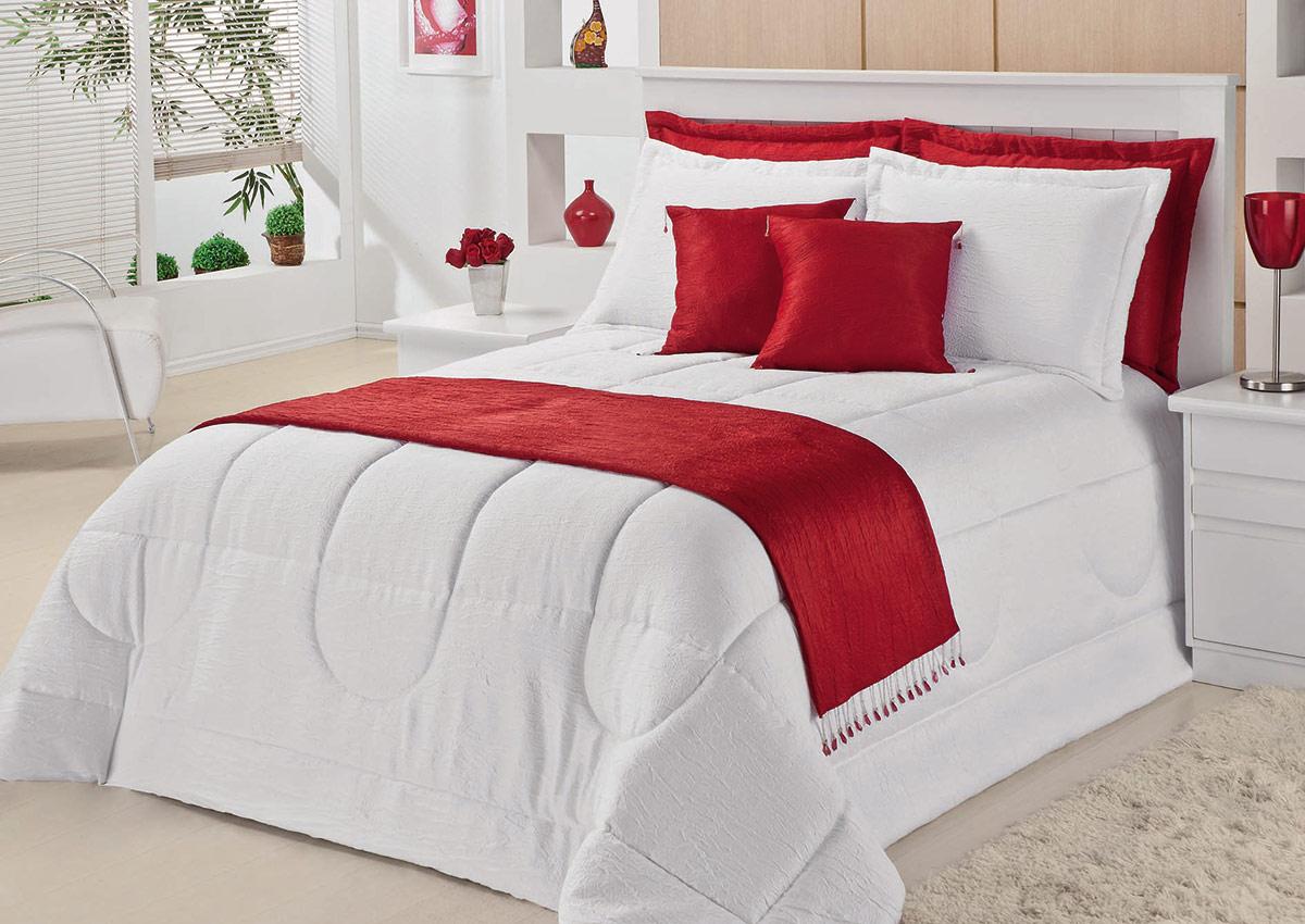 Cobre Leito Casal Queen Kit Vênus  Branco com Vermelho com 10 peças em 100% Poliéster