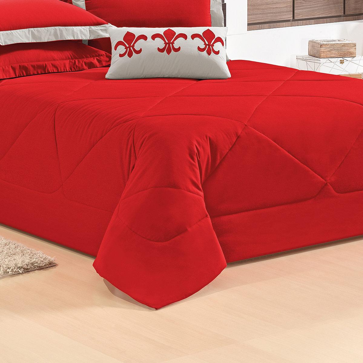 Cobre Leito Casal Vermelho em 100% Algodão com 5 peças - Cobre Leito Flor de Lotus