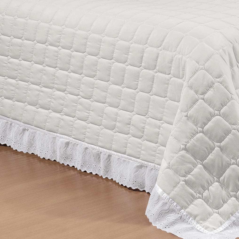 Cobre Leito Castell Queen Off White / Branco com 7 peças em Microfibra