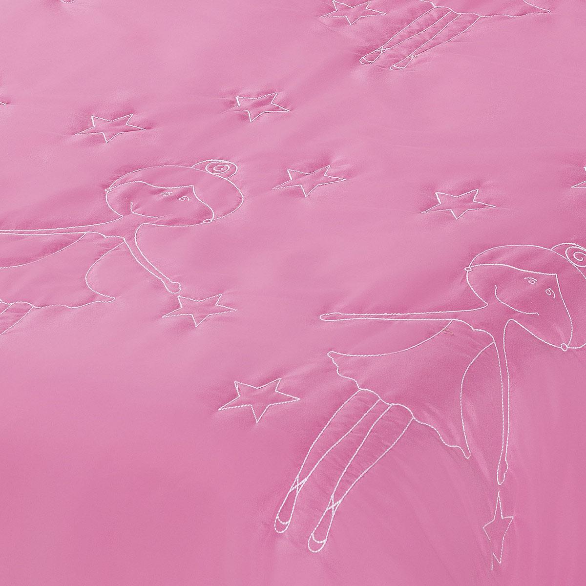 Cobre Leito / Colcha Bailarina Cama Solteiro para Menina na cor Rosa - CobreLeito Bailarina