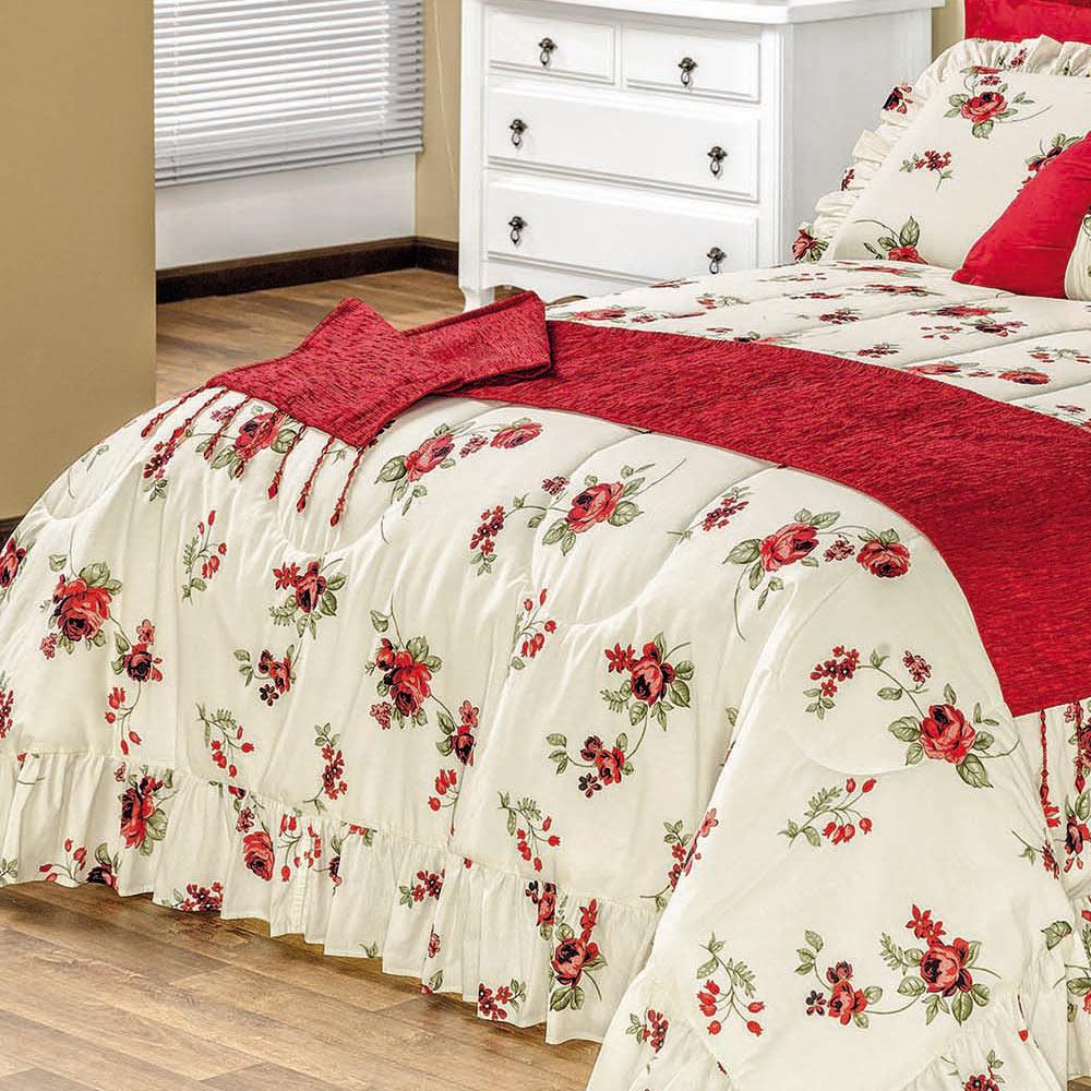 Cobre Leito / Colcha Montallegro Casal Box Flores Vermelhas com 6 peças