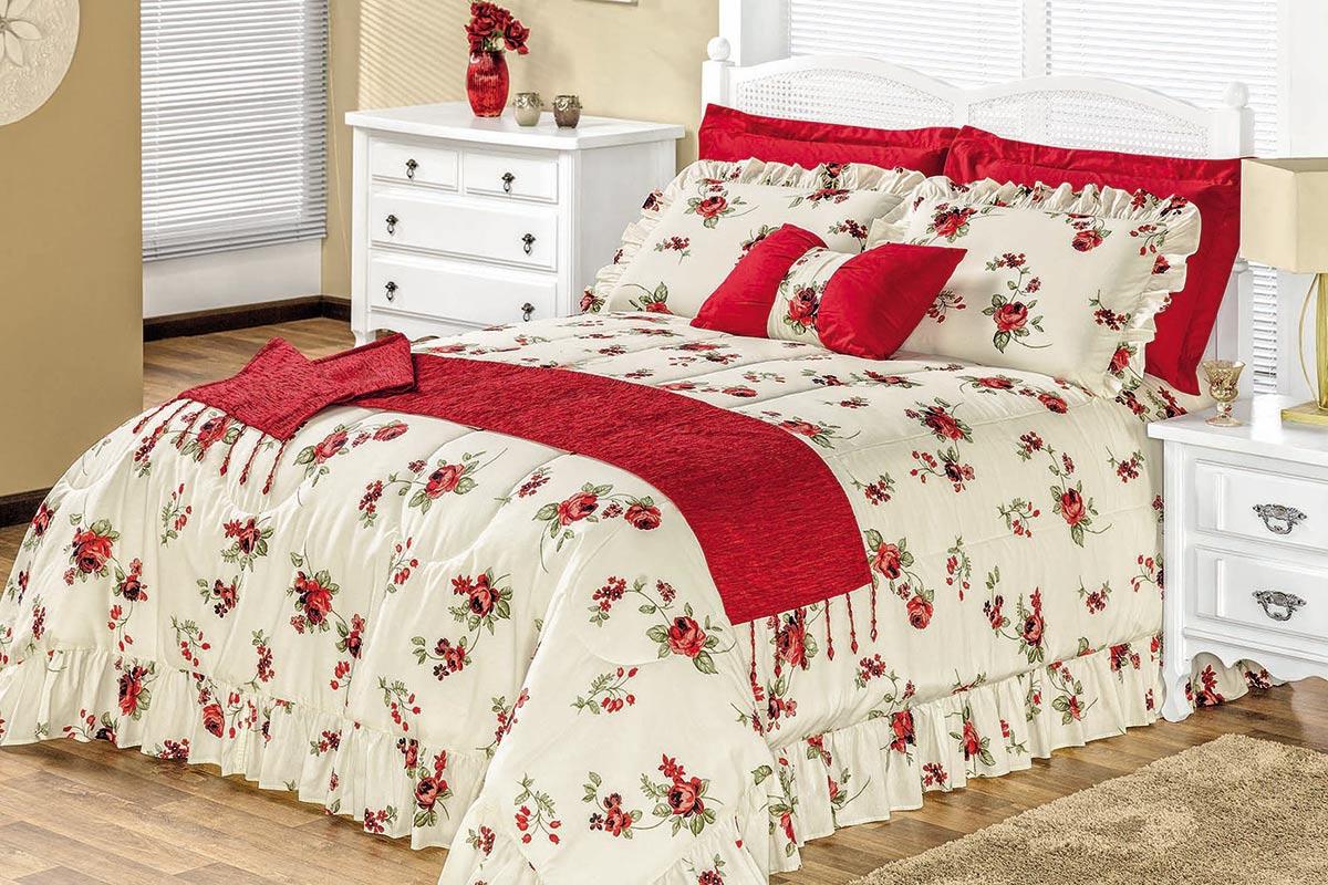 Cobre Leito / Colcha Montallegro King Flores Vermelhas com 6 peças