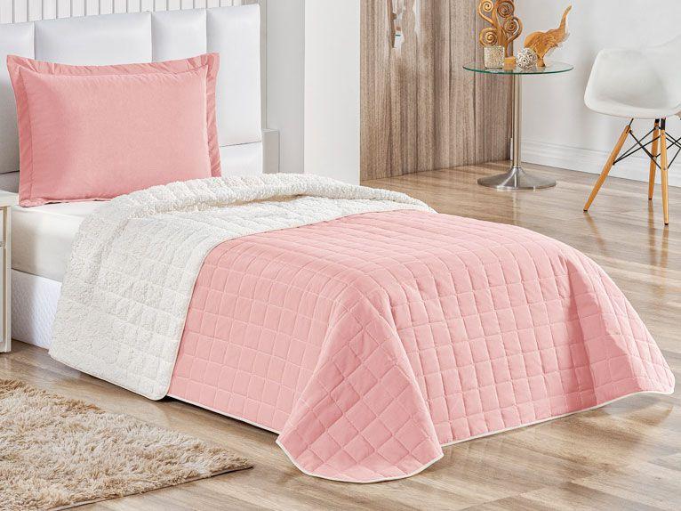 Cobre Leito com Porta Travesseiro Solteiro Sherpa 2 peças - Rosê