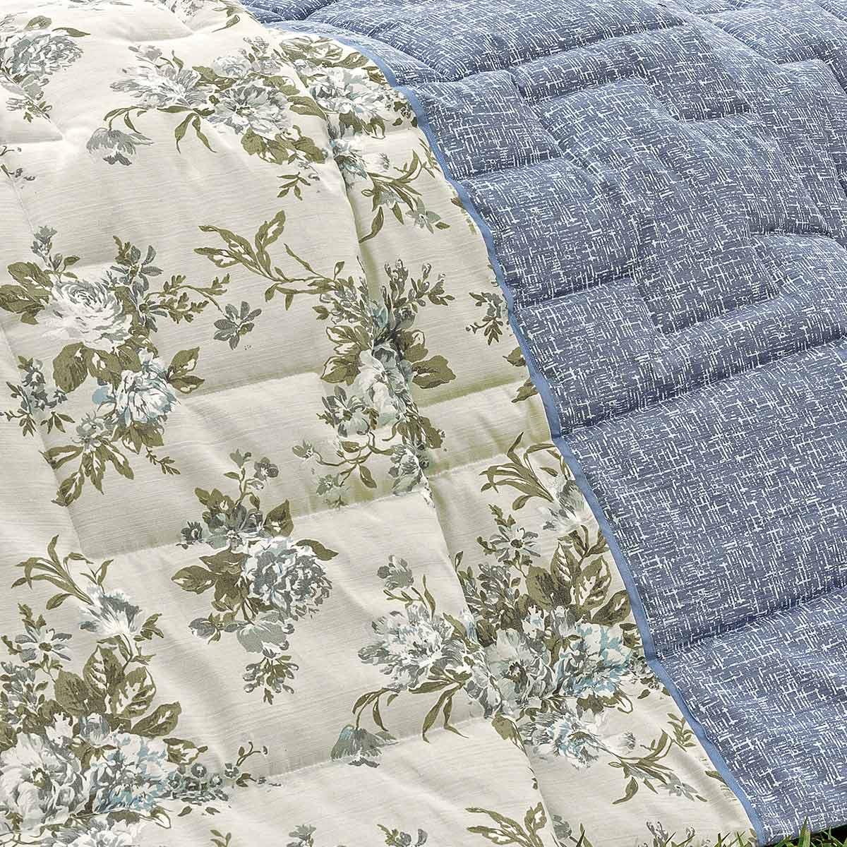 Cobre Leito Estampado de Flores Flóris Queen Azul  com 7 peças
