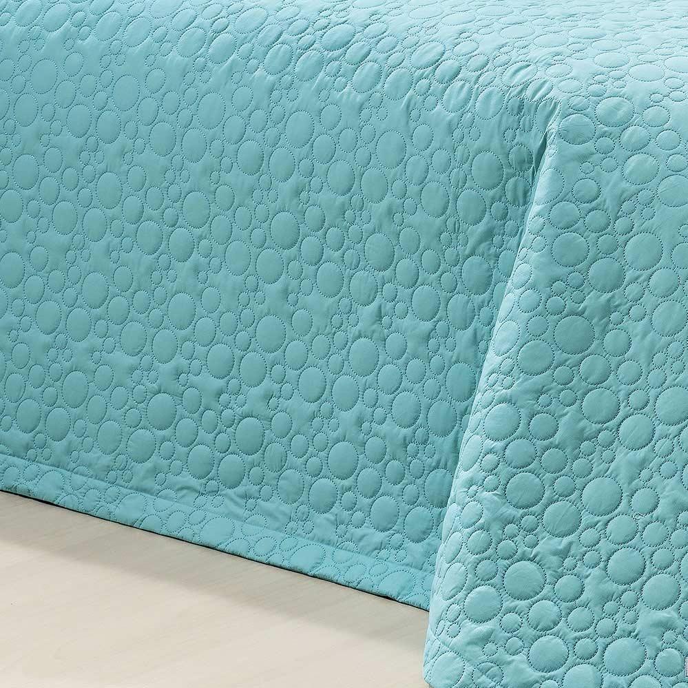 Cobre Leito Genova Super King Azul Tiffany com 3 peças