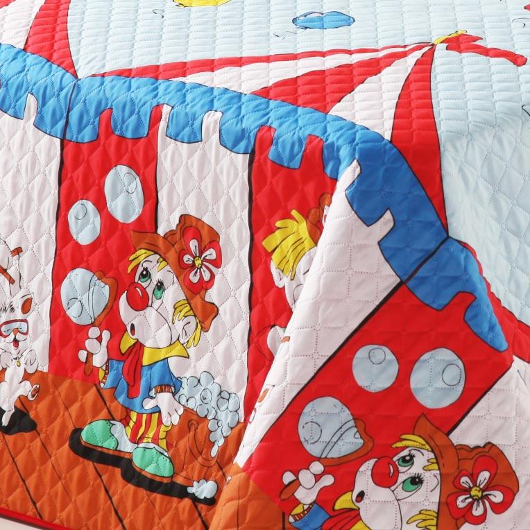 Cobre Leito Infantil Circo com Palhaço e Balão - Cobre Leito + Porta Travesseiro
