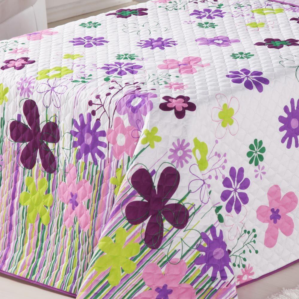 Cobre Leito Infantil Menina Solteiro Garden Lilas Jardim Flores com 2 peças