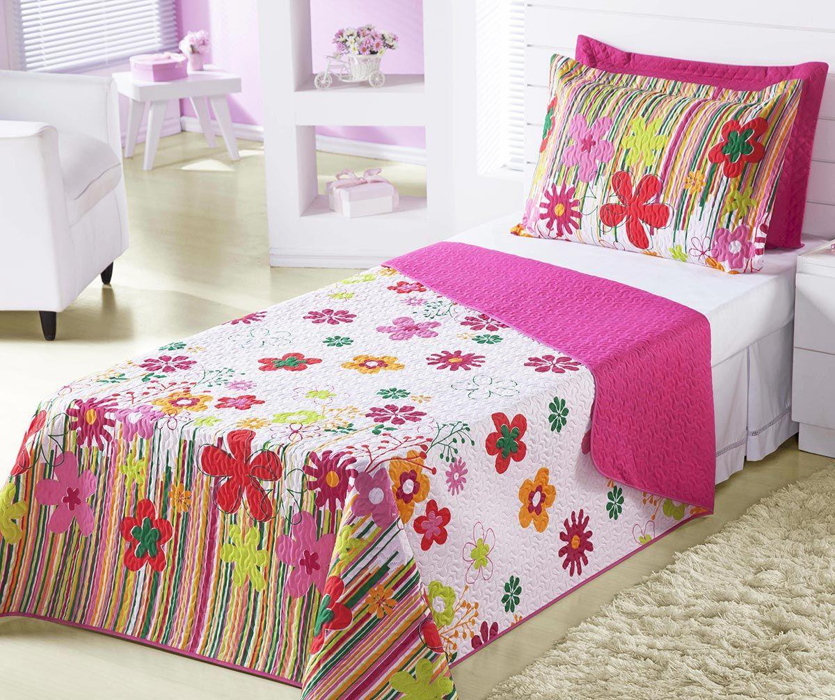 Cobre Leito Infantil Menina Solteiro Garden Pink Jardim Flores com 2 peças