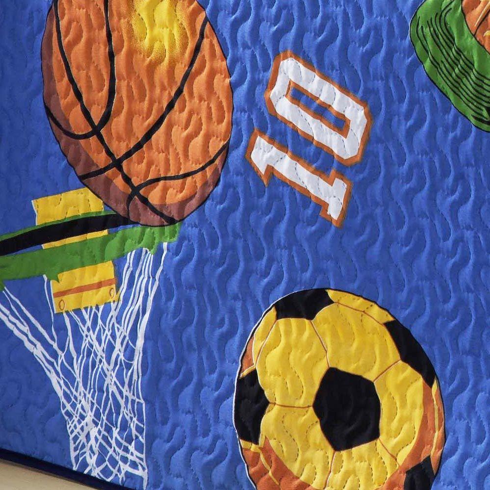 Cobre Leito Infantil Menino Solteiro Futebol Bolas Esporte com 2 peças