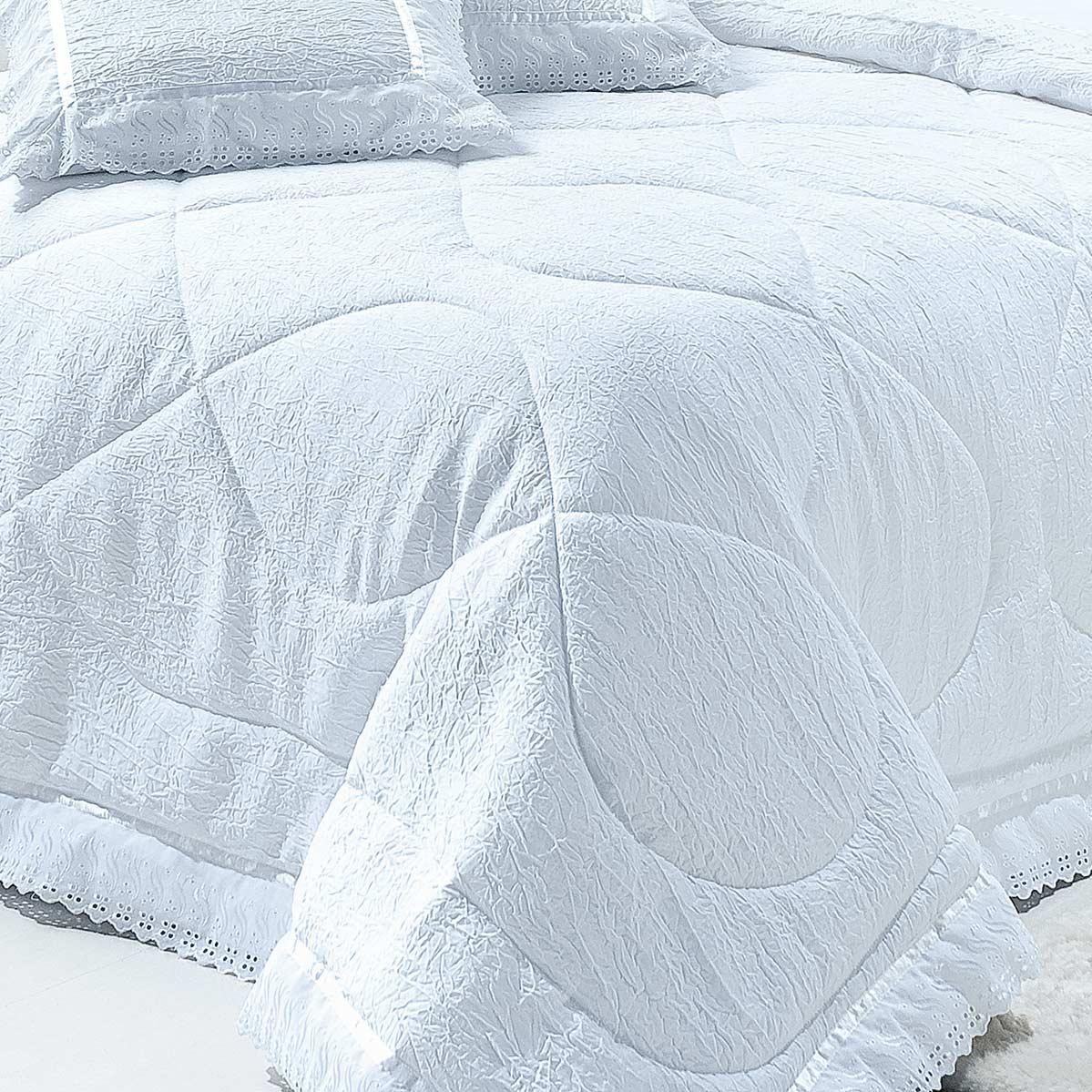 Colcha / Cobre Leito Cama King Size Branco em Cetim Amassado 100% Poliester com 7 peças - Cobre Leito Classic