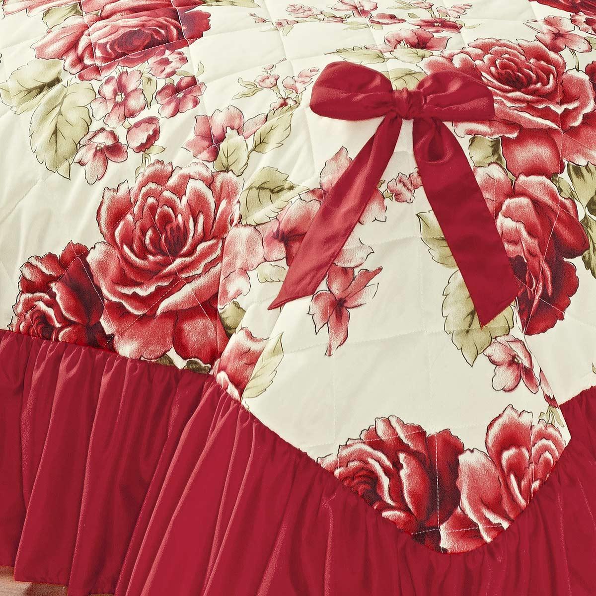 Cobre Leito Laila Casal Bouquet Vermelho com 5 peças Algodão e Poliester