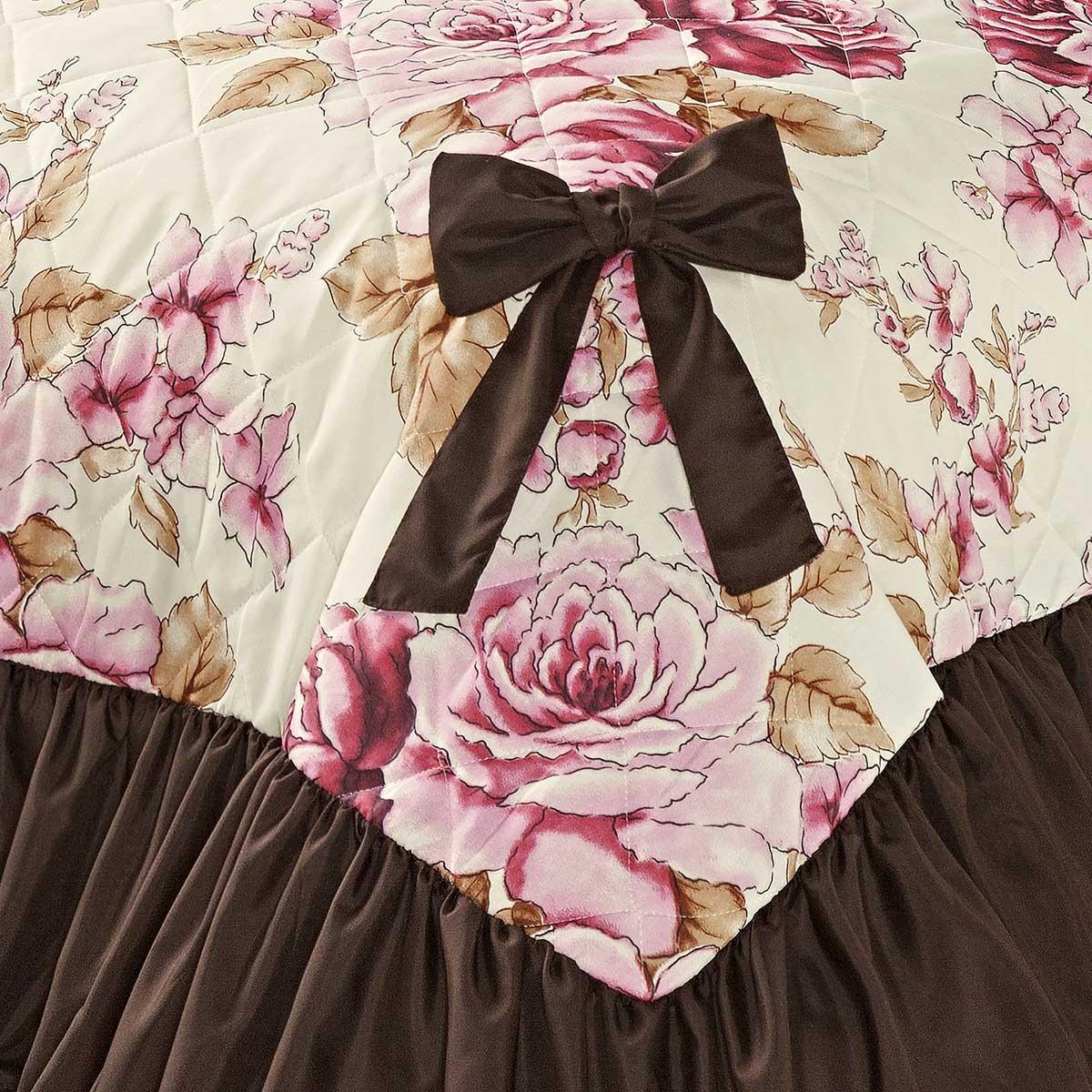 Cobre Leito Laila Casal Floral Tabaco / Rosa com 5 peças Algodão e Poliester
